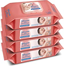 Johnson's Baby Skincare Wipes (Pack of 4, 80 Sheets per Pack)
