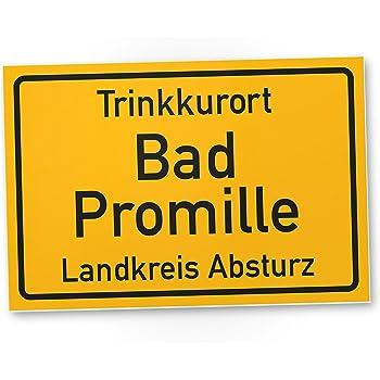Trinkkurort Bad Promille - Schild, Lustige Geschenkidee Geburtstagsgeschenk  für den besten Freund oder Sauf-Kumpel, Kleines Geschenk für Männer, ...