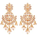 I Jewels Gold Plated Zinc Alloy Kundan Stone Earrings For Women's, Gold