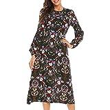 فستان كاجوال من الشيفون بتصميم الزهور بأكمام عريضة من SE MIU للسيدات مع حزام، فتحة جانبية