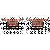 Amazon Brand - Solimo Fabric Saree Stacker cum Multipurpose Wardrobe Organiser, Set of 2, Black and White
