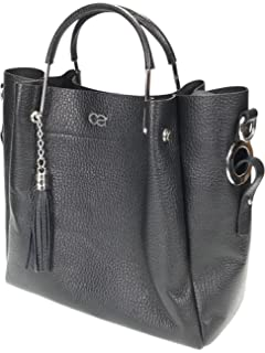 5b6d3f35d9a1f collezione alessandro Echt Leder Handtasche mit modischem Tragegrif aus  Metall und zusätzlichem langen Trageriemen