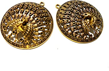 Goelx Antique Golden Peacock Pendant (2) for Necklace Making- Design 9