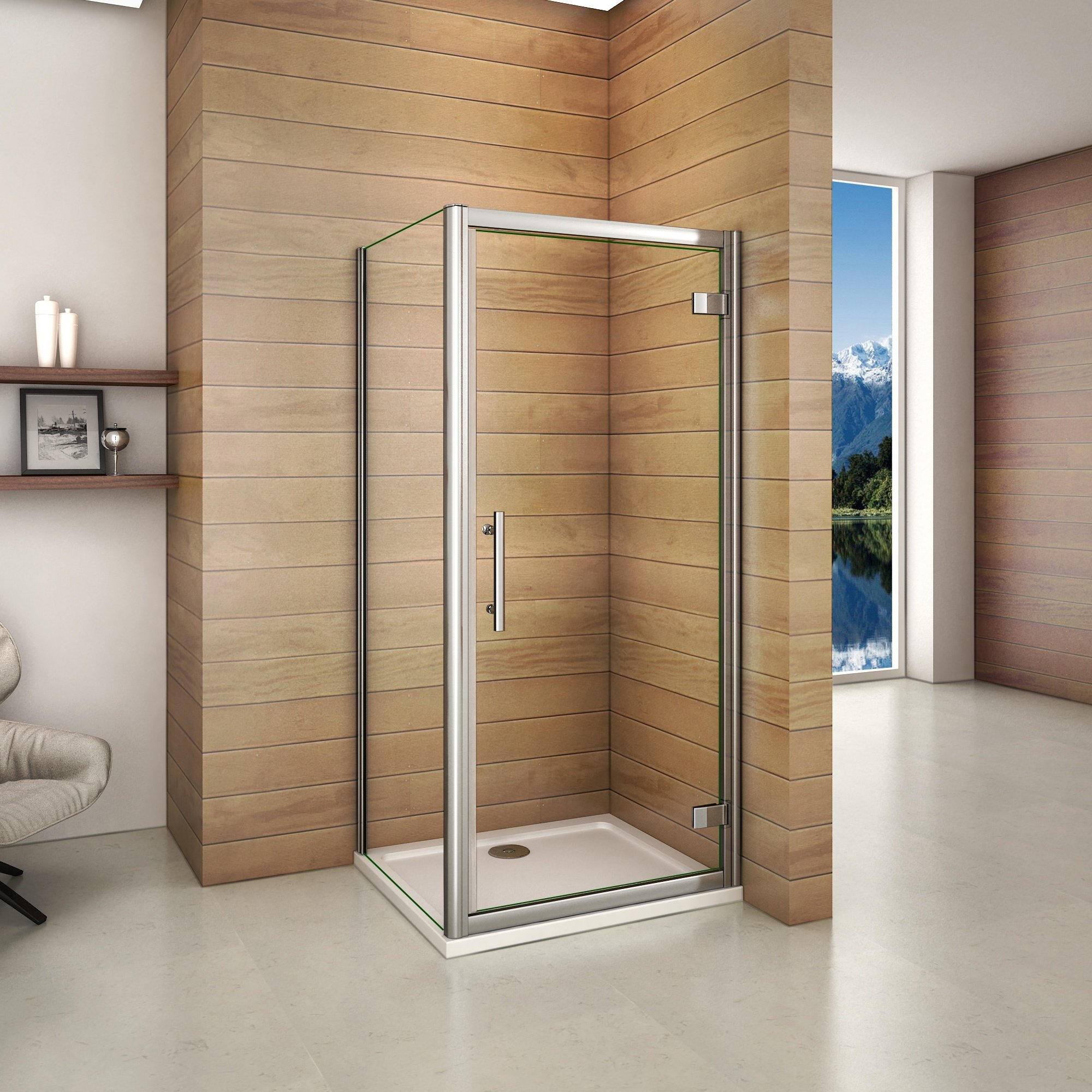 cabine de douche 185cm porte de pivotante avec une paroi de douche inspid co. Black Bedroom Furniture Sets. Home Design Ideas