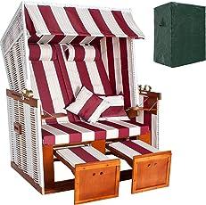 TecTake Zweisitzer Strandkorb + Premium Schutzhülle + 2 extra Kissen -diverse Farben-