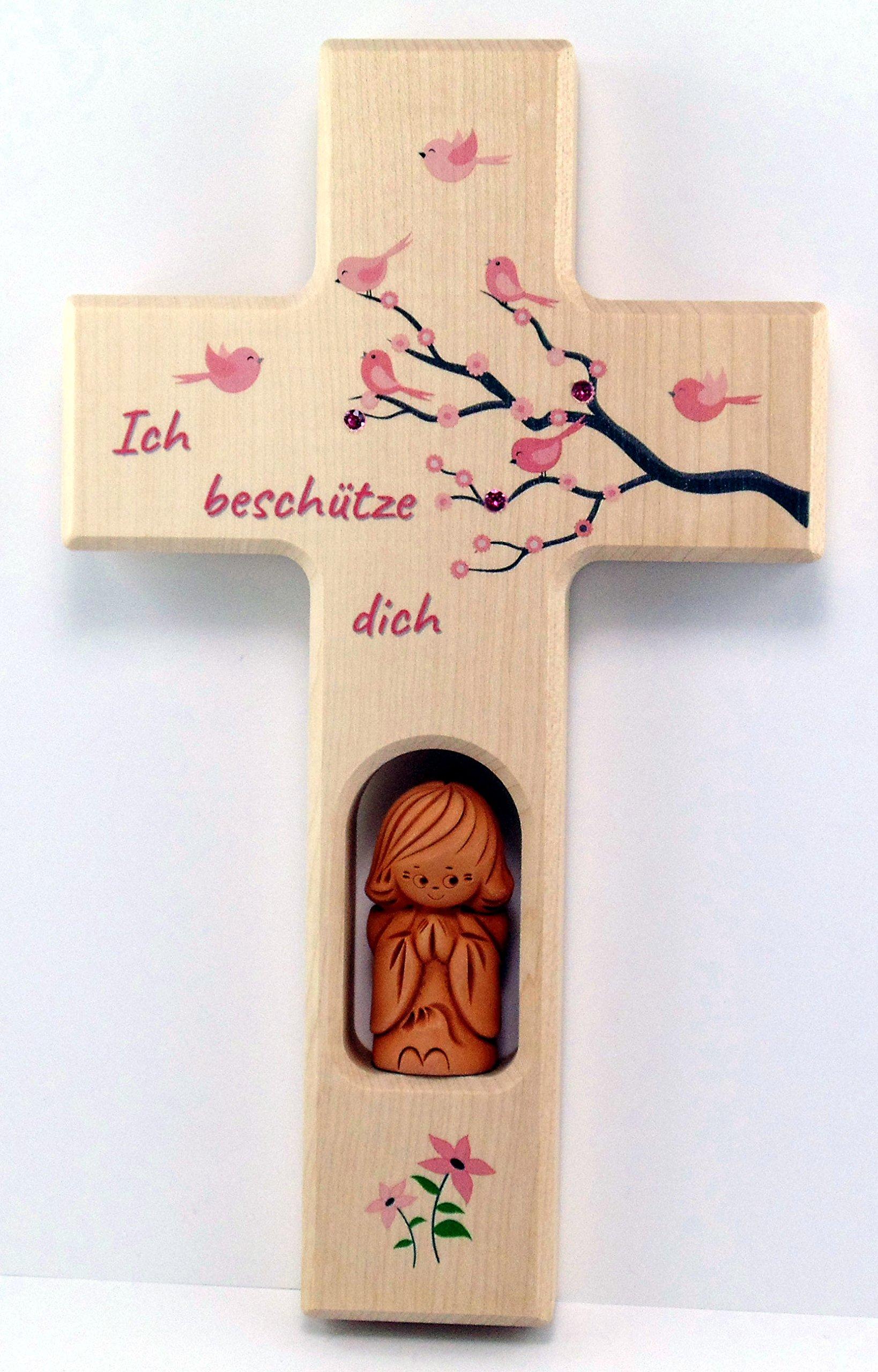 Christshop Schutzengelkreuz, Taufkreuz, Kinderkreuz mit Schutzengel Ich beschütze Dich in rosa mit Swarowski…