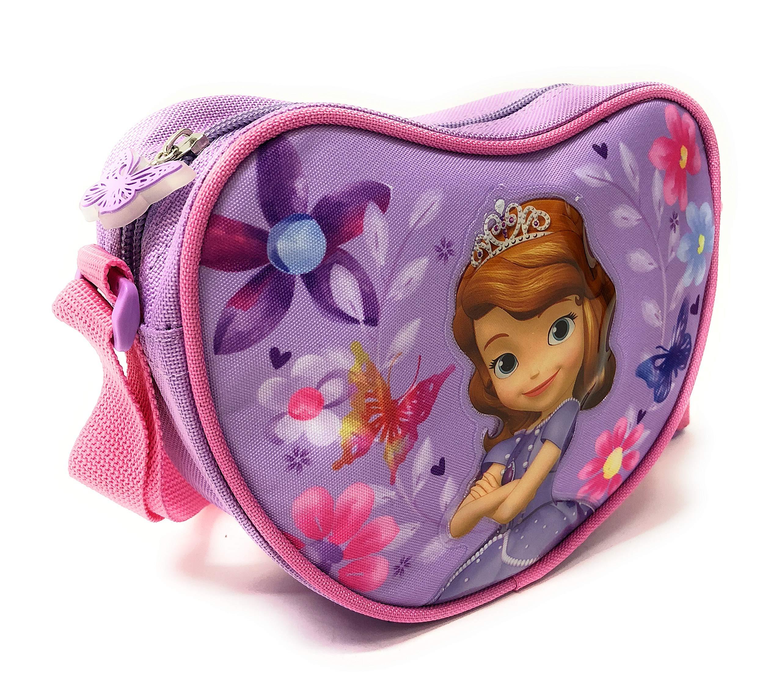 PERLETTI Bolso Bandolera de Corazón Niña Estampado Disney Princesa Sofía – Practica Bolsa Cruzada de Viaje Escuela – Bolso de Hombro con Cremallera – Lila con Flores Rosa – 14x18x6 cm