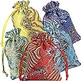 Pinowu Seda Brocado Bolsa de joyería (10pcs) para Favores del Banquete de Boda 10x14cm, Cordón Monedero Bolsita Bordada Caram