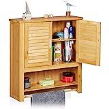 Relaxdays 10019204 Armoire pour salle de bain LAMELL Meuble mural Porte-serviettes 2 portes Étagère Bambou Rangement Fixation