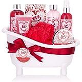 BRUBAKER Cosmetics - Coffret de bain - Fleur de cerisier/Love - 8 Pièces - Baignoire décorative - Blanc/Rouge - Idée cadeau