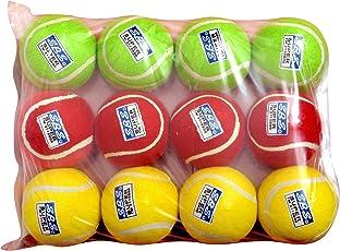 SBS SUPER Cricket Tennis Ball (Green, Yellow and Maroon) - 12Pc