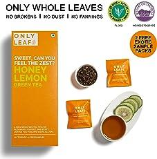 Onlyleaf Honey Lemon Green Tea, 27 Tea Bags with 2 Free Exotic Samples