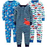 Simple Joys by Carter's Baby Boy's Footless Cotton Zipped Long Sleeve Sleepsuit, Pack of 3