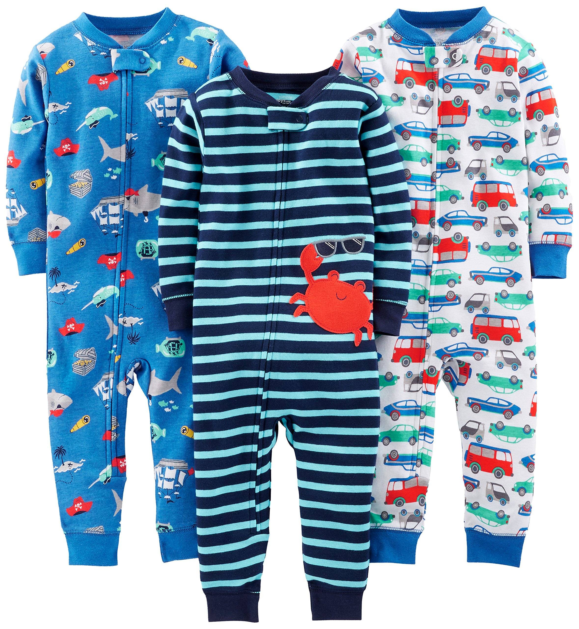 Simple Joys by Carter's pijama de algodón sin pies para bebés y niños pequeños, paquete de 3 1
