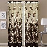 Queenzliving Florentina Curtain, Door 7 feet- Pack of 2, Brown