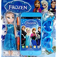 MJ Ragav Cartoon Character Frozen Touch Screen Toy Mobile Phone with Light and Sound Effect and Stylish Goggle and Frozen Doll for Boys/Girls & Kids(Best Birthday Gift Return)