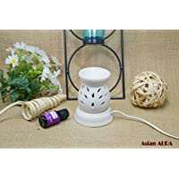 Asianaura Ceramic Electric Aroma Burner Diffuser Set (11 x 8.50 cm, White)