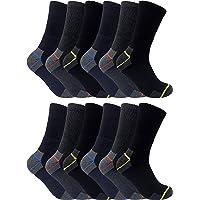 3, 6, 12 Paires Homme Travail Trekking Renforcées Éponge Elastique Doux Coton Chaussettes pour les Bottes de Sécurité 45…