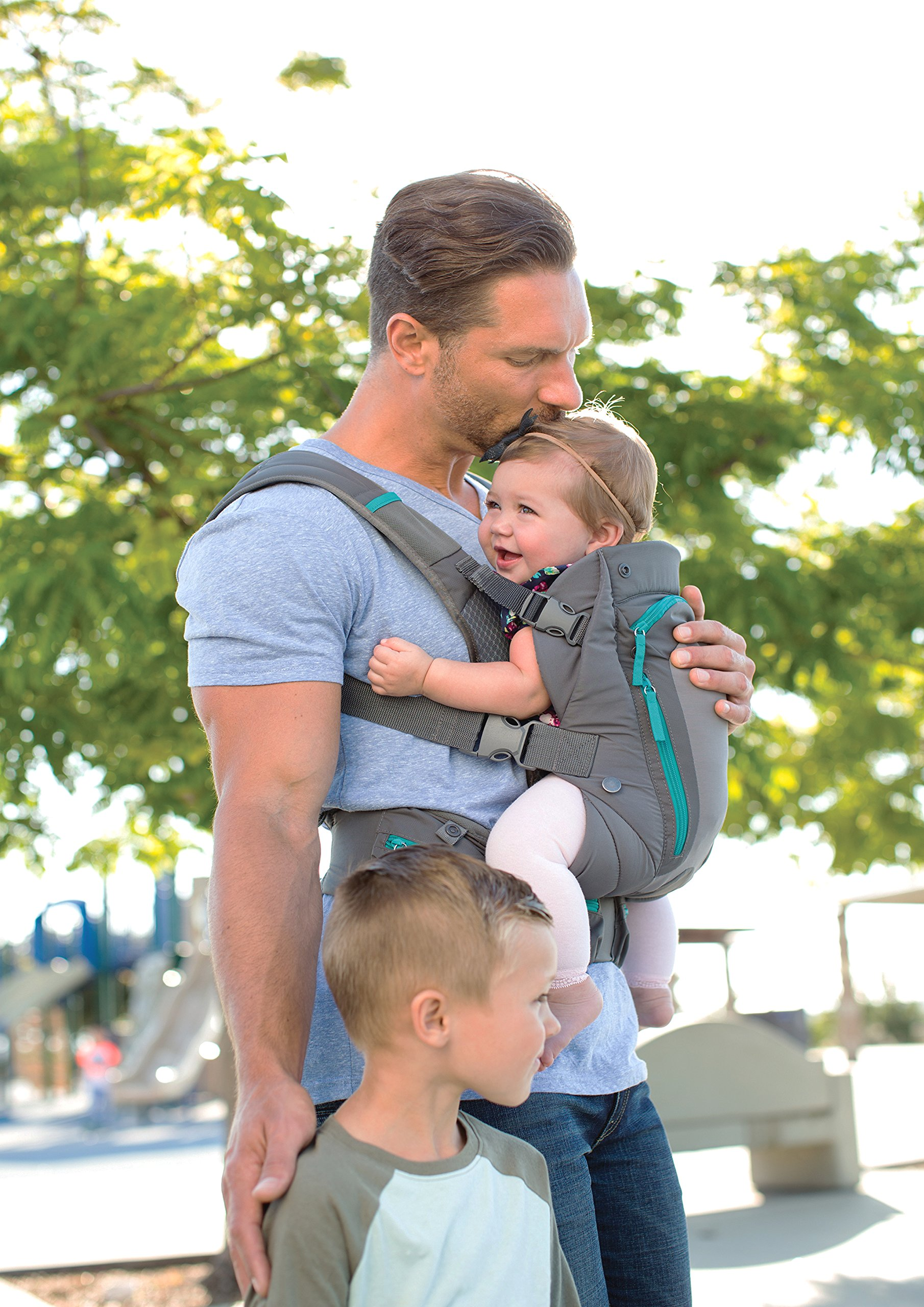Infantino Carry On Carrier, Grey, One Size Infantino Fully safety tested 4 way carrier  with multiple storage pockets Facing in newborn & m position 4