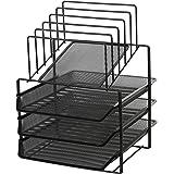 Exerz Grilles métalliques à 3 couches avec 5 diviseurs. classeur de papier / organisateur multifonctionnel de bureau. porte-d