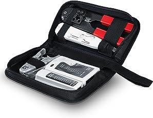 CSL - Netzwerk Kabeltester für RJ45-/RJ11-Kabel | Patchkabel-Tester / Leitungstester | LAN network cable tester | zwei verschiedene Geschwindigkeiten | Wahlschalter On/Off | schwarz