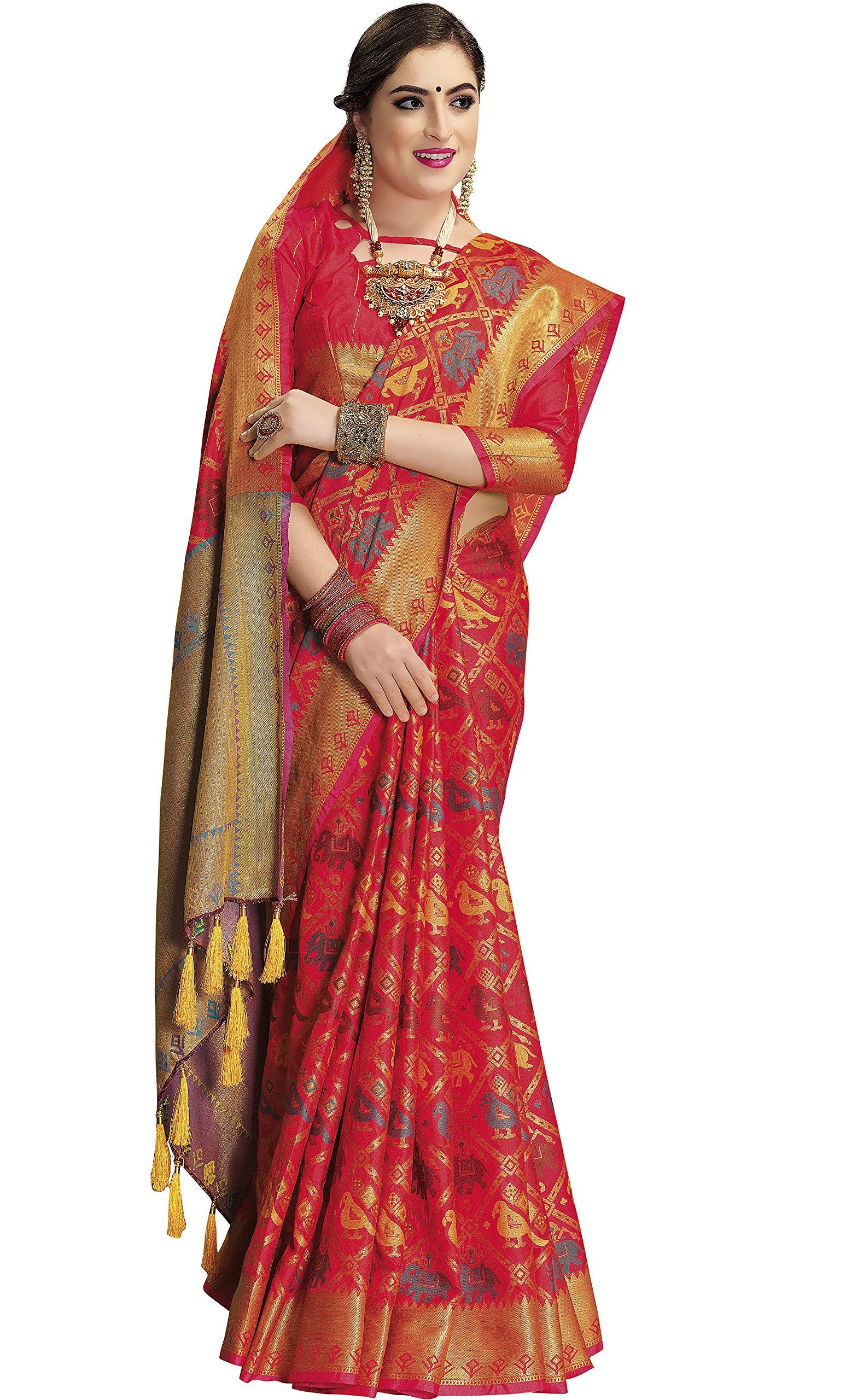 635b22dbcf EthnicJunction Double Ikat Woven Banarasi Silk Saree With Unstitched ...