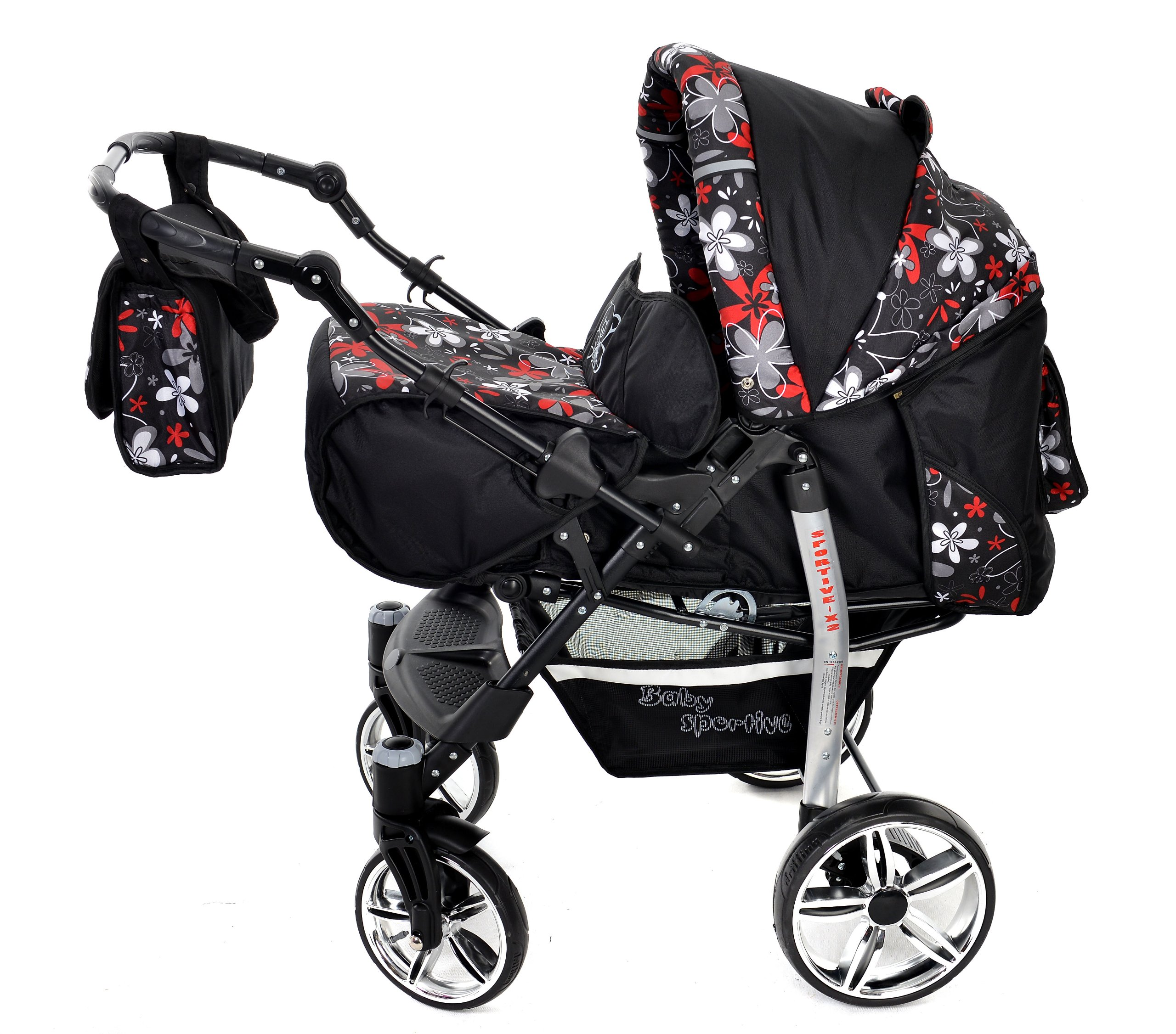 Sportive X2, 3-in-1 Travel System incl. Baby Pram with Swivel Wheels, Car Seat, Pushchair & Accessories (3-in-1 Travel System, Black & Small Flowers) Baby Sportive 3 in 1 Travel System All in One Set - Pram, Car Carrier Seat and Sport Buggy + Accessories: carrier bag, rain protection, mosquito net, changing mat, removable bottle holder and removable tray for your child's bits and pieces Suitable from birth, Easy Quick Folding System; Large storage basket; Turnable handle bar that allows to face or rear the drive direction; Quick release rear wheels for easy cleaning after muddy walks Front lockable 360o swivel wheels for manoeuvrability , Small sized when folded, fits into many small car trunks, Carry-cot with a removable hood, Reflective elements for better visibility 2