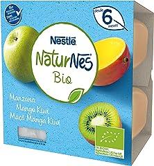 Naturnes Bio Tarrina Manzana Mango Kiwi, A Partir de Los 6 Meses, 4 x 90g