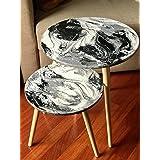 Par de mesas de café de madera y resina con efecto mármol / ¡Elija sus colores! - (35 y 45 cm de diámetro)