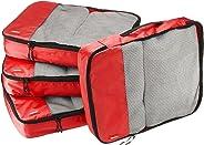 AmazonBasics Große Kleidertaschen, 4 Stück, Rot