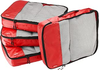 AmazonBasics Packing Cubes/Travel Pouch/Travel Organizer- Large, Red