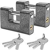 Kurtzy Zware Hangsloten met 8 Sleutels (2Pak) – Gehard Solide Stalen Materialen Monoblock Sloten – 12mm Sluitpin – Bescherm G
