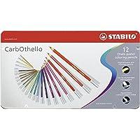 Crayon de couleur - STABILO CarbOthello - Boîte métal de 12 crayons fusains pastels - Coloris assortis