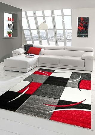 designer teppich moderner teppich wohnzimmer teppich kurzflor ... - Wohnzimmer Grau Weis Rot