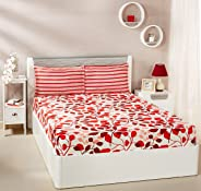 Amazon Brand - Solimo Leafy Spring 144 TC 100% Cotton Double Bedsheet with 2 Pillow Covers, Red