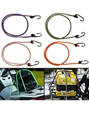 Autofy Multipurpose Ultra Flexible Bungee Rope/Luggage Strap/Bungee Cord with 10 MM Diameter and Metal Hooks (Multicolored, Set of 4)