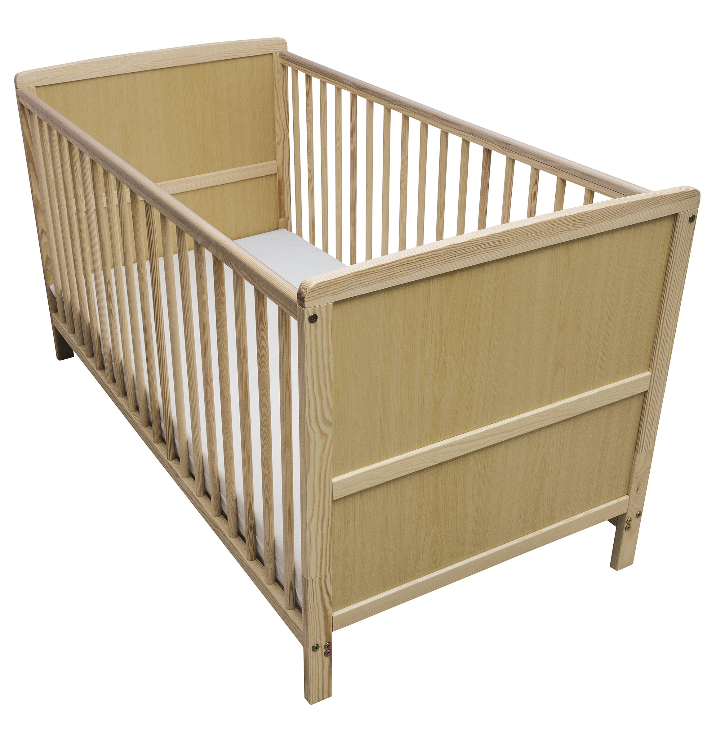 Kinder Valley Solid Pine Wood 2-in-1 Junior Cot Bed, Natural, 144 x 76 x 80 cm