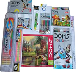 Doms Neon Groove Triangle Pencils, Aqua Water Colour, Drawing Book, 25 Shades Oil Pastels, Geometry Box, 16 Extra Long Wax Crayons (7710)