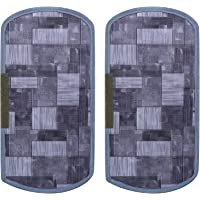 Heart Home 3D Checkered Design PVC 2 Pieces Fridge/Refrigerator Handle Cover (Grey) - CTHH6545, Standard