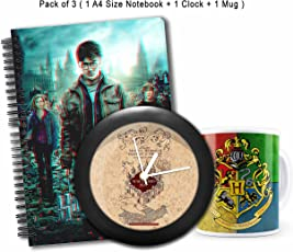 """MC SID RAZZ """"Harry Potter """" Combo Of Marauder'S Map Table/Wall Clock + 3D Notebook + House Crest 3 Mug- Pack Of 3"""
