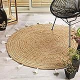 tapis deco rond (0) 120 cm jute uni+pompons shira blanc