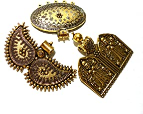 Goelx Antique Golden Designer Lord Pendant & Other Designs - Combo of 3 - Style 2