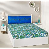Amazon Brand - Solimo Trellis Tales 144 TC 100% Cotton Double Bedsheet with 2 Pillow Covers, Blue and Green