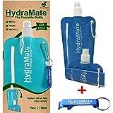 HydraMate Faltbare, Wiederverwendbare Wasserflasche. BPA-frei, 750ml Leichte, Umweltfreundliche, nachfüllbare Flasche mit Sportverschluss und hygienischem Deckel. Mit Karabiner und Flaschenöffner!