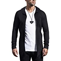 Maniac Solid Men's Fullsleeve Hooded Black Cotton Shrug