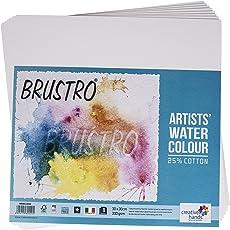 Brustro Watercolour Paper 25% Cotton CP 300 GSM 30CM X 30CM (Pack of 8 Sheets)