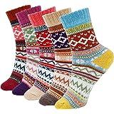 ISIYINER Calcetines de Mujer, Calcetines de Lana de Punto Calcetines Termicos Invierno para Damas Niñas Interiores Exteriores