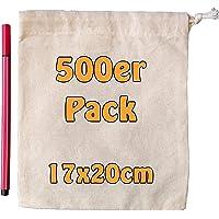 Cottonbagjoe Baumwollbeutel | 17 x 20 cm | Stoffbeutel mit Kordelzug | Adventskalendersäckchen | Lunchsack…