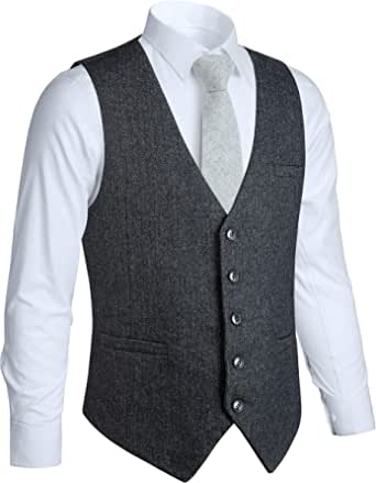 HISDERN Men's Formal Wedding Party 5 Buttons Wool Waistcoat Herringbone Tweed Waistcoats Dress Suit Vest