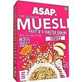 ASAP Wholegrain Muesli Fruitz| High Protein Breakfast Muesli with 83% Strawberry, Raisins, Dried Papaya, Apple & 5 Toasted Gr